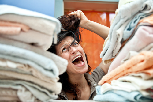 Overwhelmed housewife needs laundry help